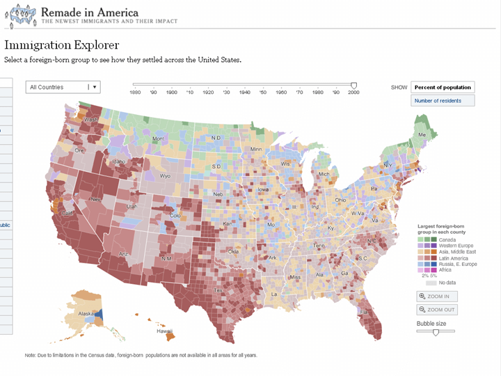 New York Times Immigration Explorer Interactive Map Languages - Animated map of immigrants to us