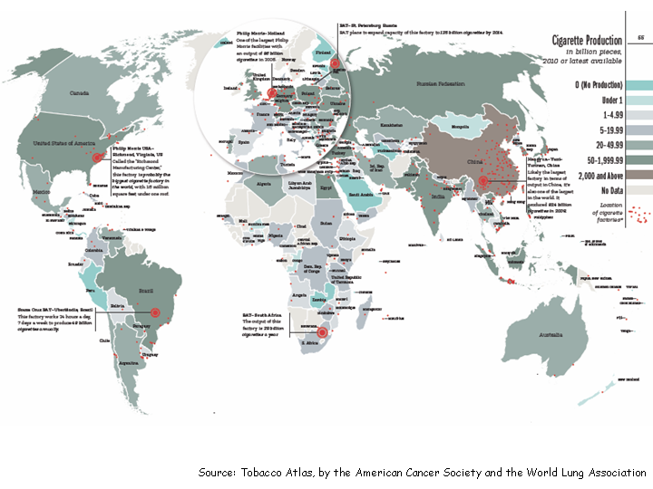 Global Patterns Of TobaccoRelated Economic Issues Languages Of - Tobacco death us map