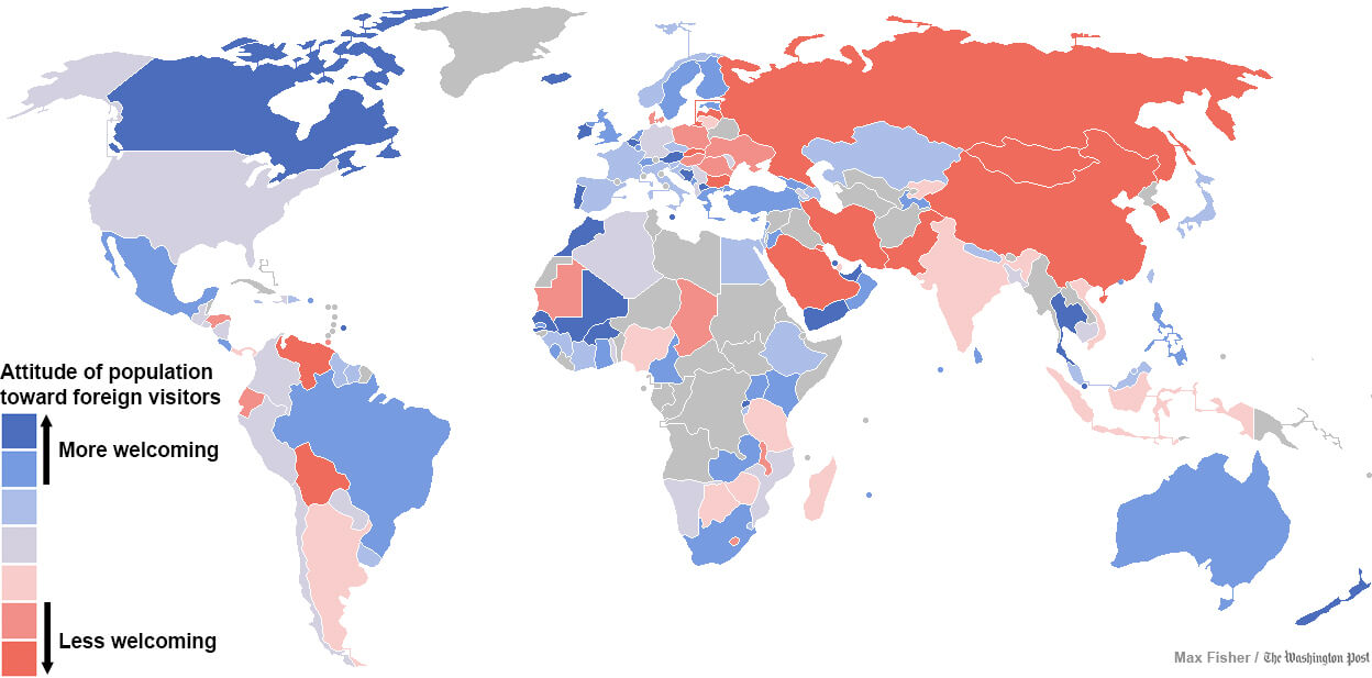 A Surprising Map of The Countries That Are Most and Least Welcoming ...