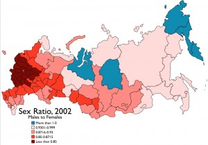 Russia Sex Ratio Map